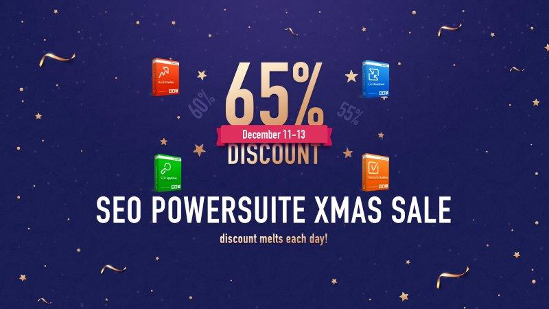 seo powersuite toolset xmas christmas 2018 discount offer on rank tracker, seo spyglass, website auditor and lick assistant